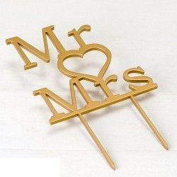 Cake topper de madera para boda Mr & Mrs
